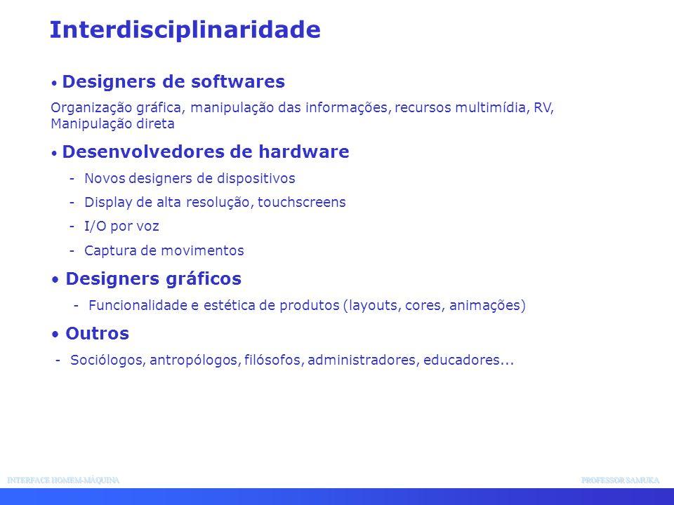 INTERFACE HOMEM-MÁQUINA PROFESSOR SAMUKA Interdisciplinaridade Designers de softwares Organização gráfica, manipulação das informações, recursos multi