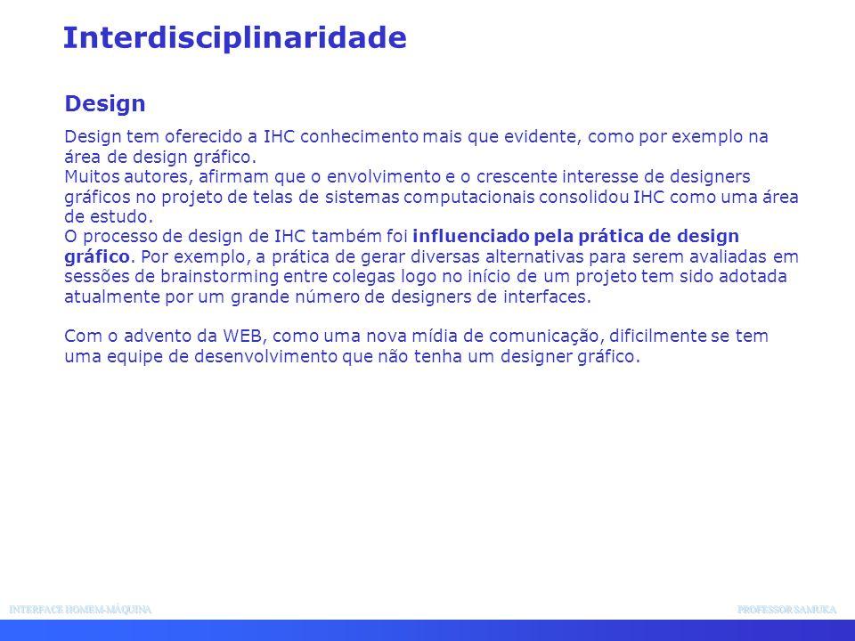 INTERFACE HOMEM-MÁQUINA PROFESSOR SAMUKA Interdisciplinaridade Design Design tem oferecido a IHC conhecimento mais que evidente, como por exemplo na á
