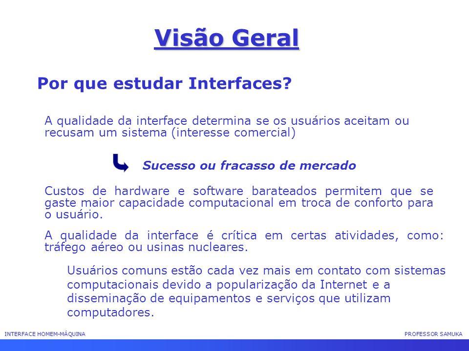 INTERFACE HOMEM-MÁQUINA PROFESSOR SAMUKA Visão Geral Por que estudar Interfaces? A qualidade da interface determina se os usuários aceitam ou recusam