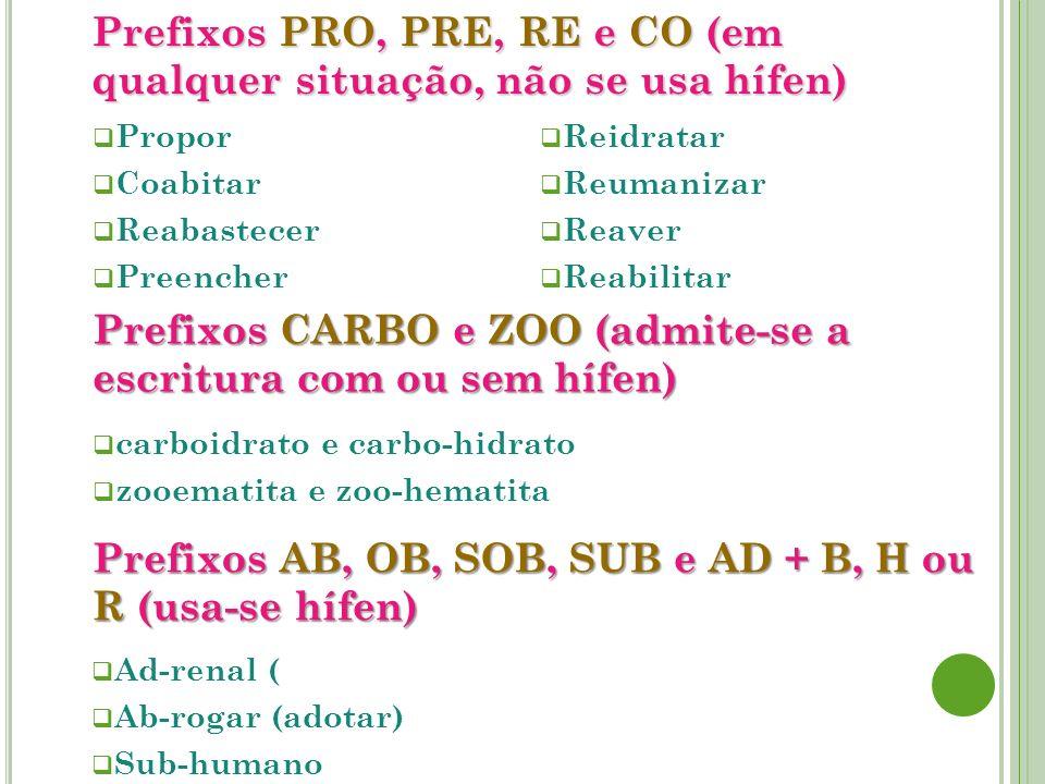 PrefixosPRO,PRE,REeCO(em qualquer situação, não se usa hífen) Prefixos PRO, PRE, RE e CO (em qualquer situação, não se usa hífen) Propor Coabitar Reab