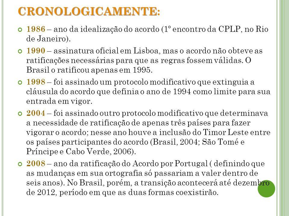 CRONOLOGICAMENTE CRONOLOGICAMENTE: 1986 – ano da idealização do acordo (1º encontro da CPLP, no Rio de Janeiro). 1990 – assinatura oficial em Lisboa,