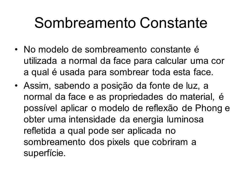 Sombreamento Constante No modelo de sombreamento constante é utilizada a normal da face para calcular uma cor a qual é usada para sombrear toda esta f