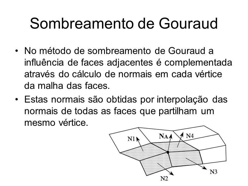 No método de sombreamento de Gouraud a influência de faces adjacentes é complementada através do cálculo de normais em cada vértice da malha das faces