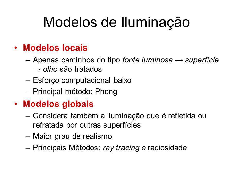 Modelos de Iluminação Modelos locais –Apenas caminhos do tipo fonte luminosa superfície olho são tratados –Esforço computacional baixo –Principal méto