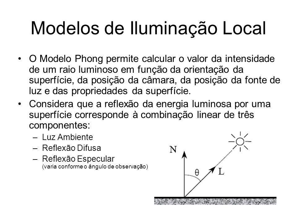 Modelos de Iluminação Local O Modelo Phong permite calcular o valor da intensidade de um raio luminoso em função da orientação da superfície, da posiç