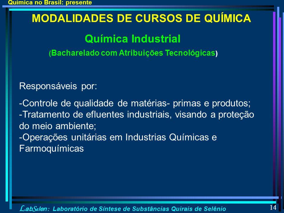 L ab S e len : Laboratório de Síntese de Substâncias Quirais de Selênio 14 MODALIDADES DE CURSOS DE QUÍMICA Química Industrial ( Bacharelado com Atribuições Tecnológicas ) Responsáveis por: -Controle de qualidade de matérias- primas e produtos; -Tratamento de efluentes industriais, visando a proteção do meio ambiente; -Operações unitárias em Industrias Químicas e Farmoquímicas Química no Brasil: presente