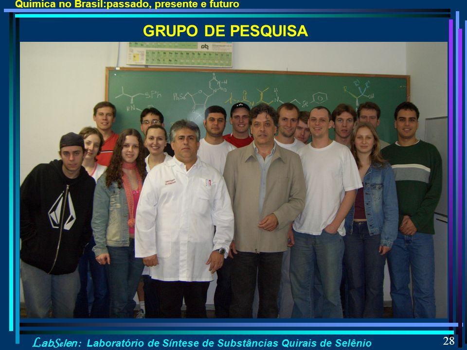 L ab S e len : Laboratório de Síntese de Substâncias Quirais de Selênio 28 GRUPO DE PESQUISA Química no Brasil:passado, presente e futuro