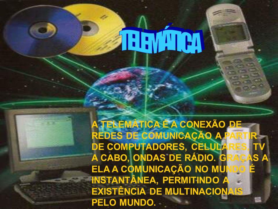 A TELEMÁTICA É A CONEXÃO DE REDES DE COMUNICAÇÃO A PARTIR DE COMPUTADORES, CELULARES, TV A CABO, ONDAS DE RÁDIO. GRAÇAS A ELA A COMUNICAÇÃO NO MUNDO É