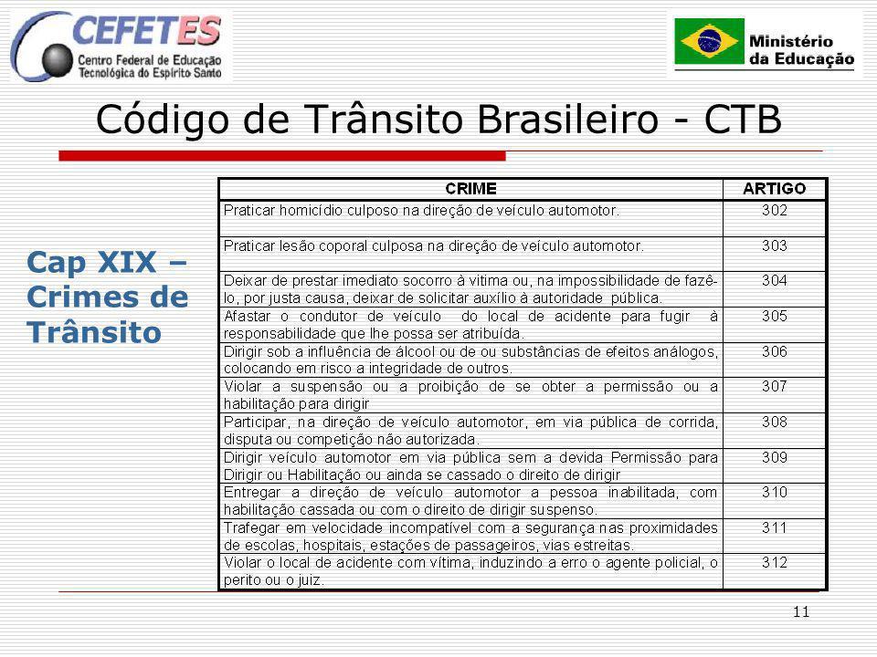 11 Código de Trânsito Brasileiro - CTB Cap XIX – Crimes de Trânsito