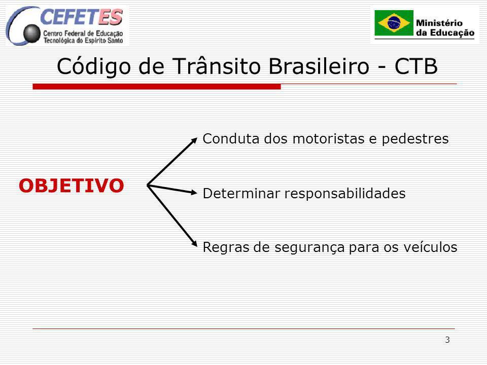 4 Código de Trânsito Brasileiro - CTB HISTÓRICO 1941 1966 Início da Legislação Brasileira 1998 2º Código Nacional de Trânsito Atual Código de Trânsito Brasileiro