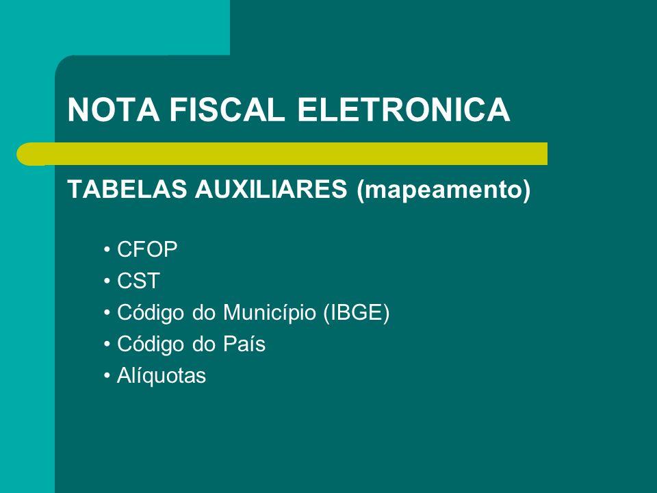 NOTA FISCAL ELETRONICA TABELAS AUXILIARES (mapeamento) CFOP CST Código do Município (IBGE) Código do País Alíquotas