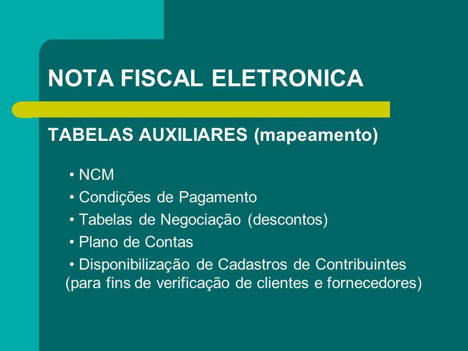NOTA FISCAL ELETRONICA TABELAS AUXILIARES (mapeamento) NCM Condições de Pagamento Tabelas de Negociação (descontos) Plano de Contas Disponibilização d