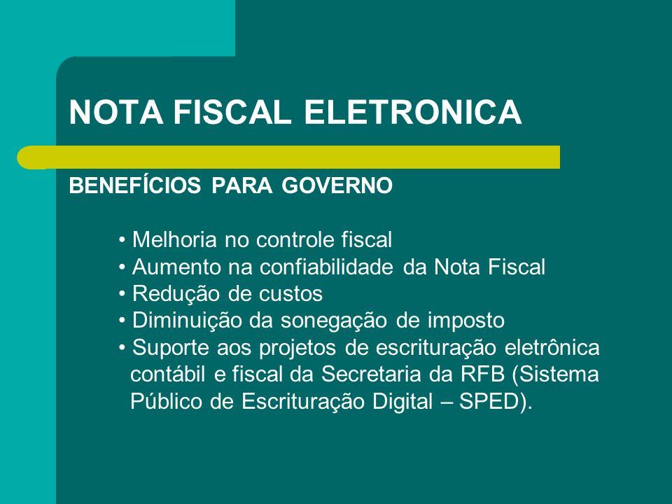 NOTA FISCAL ELETRONICA BENEFÍCIOS PARA GOVERNO Melhoria no controle fiscal Aumento na confiabilidade da Nota Fiscal Redução de custos Diminuição da so