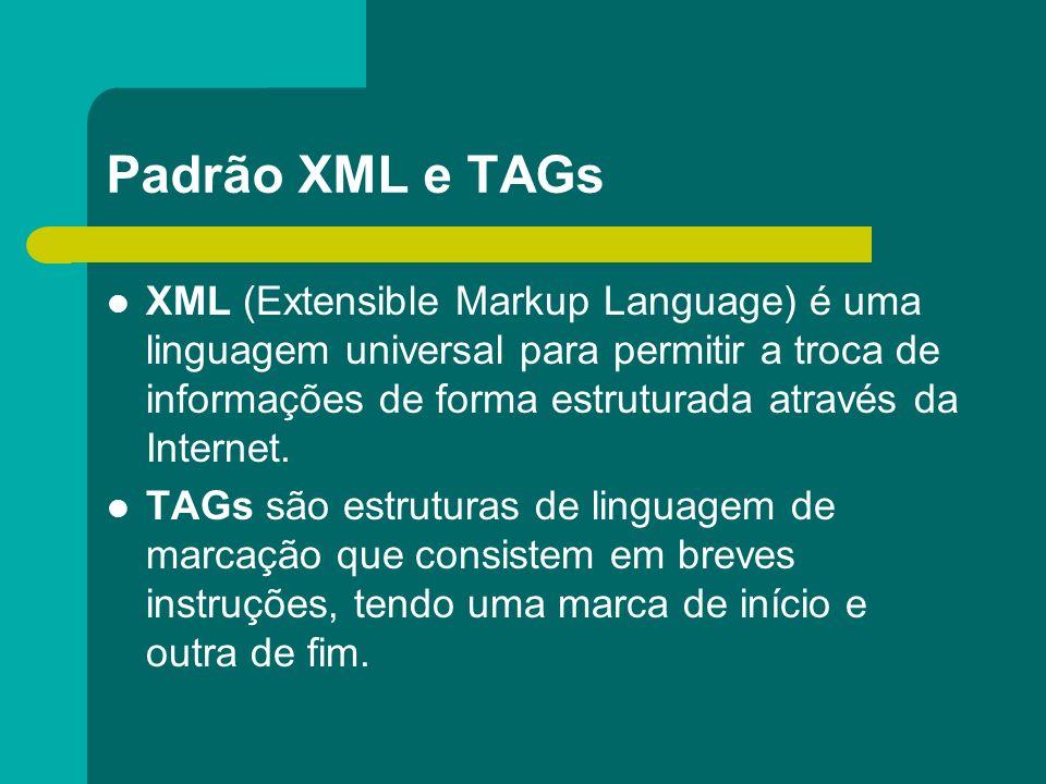 Padrão XML e TAGs XML (Extensible Markup Language) é uma linguagem universal para permitir a troca de informações de forma estruturada através da Inte