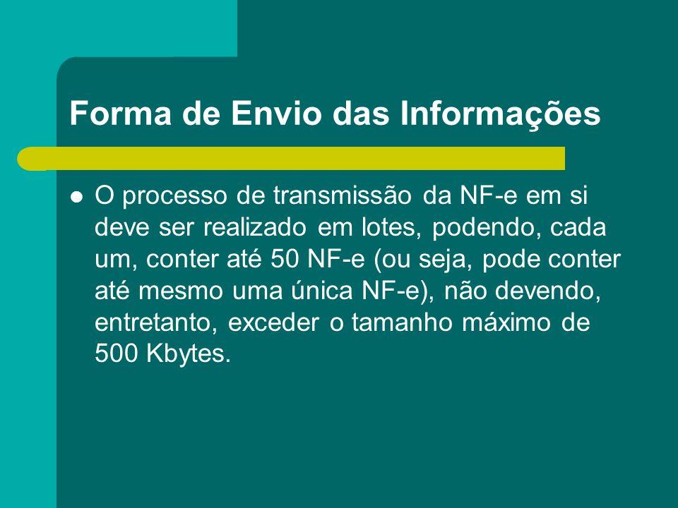Forma de Envio das Informações O processo de transmissão da NF-e em si deve ser realizado em lotes, podendo, cada um, conter até 50 NF-e (ou seja, pod