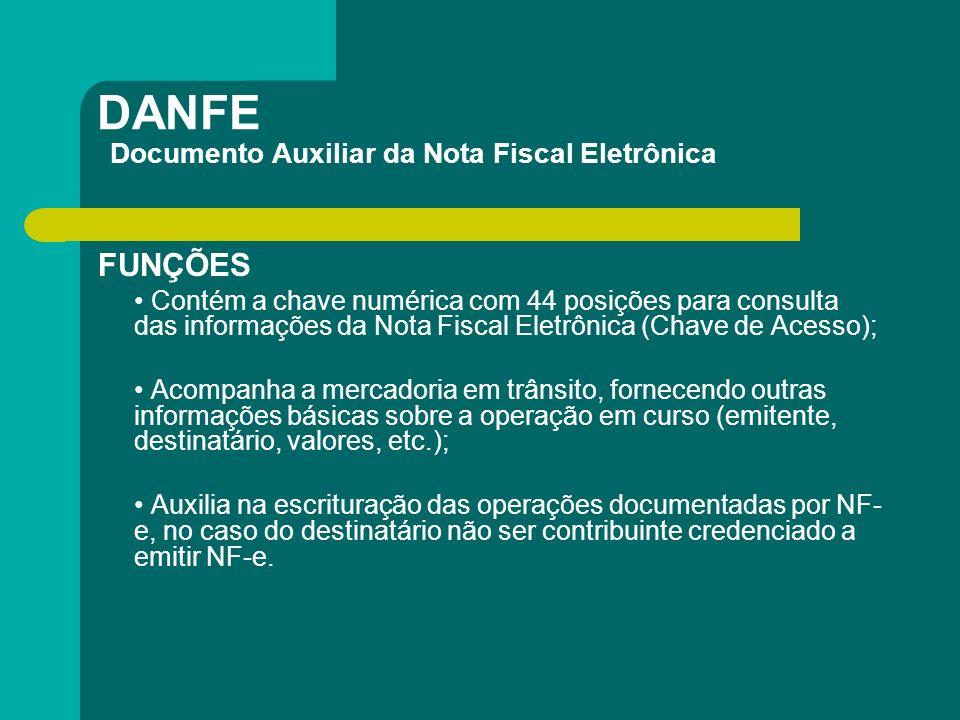 DANFE Documento Auxiliar da Nota Fiscal Eletrônica FUNÇÕES Contém a chave numérica com 44 posições para consulta das informações da Nota Fiscal Eletrô