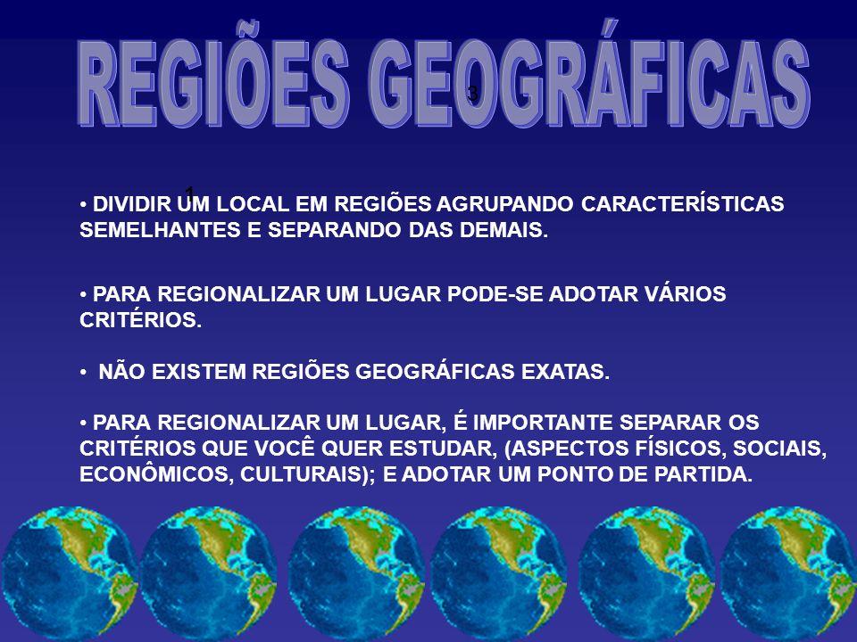 DIVIDIR UM LOCAL EM REGIÕES AGRUPANDO CARACTERÍSTICAS SEMELHANTES E SEPARANDO DAS DEMAIS.