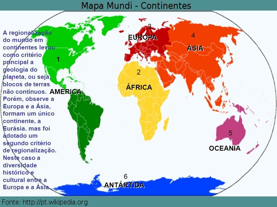AMÉRICA ÁFRICA EUROPA ÁSIA ANTÁRTIDA OCEANIA 1 2 3 4 5 6 A regionalização do mundo em continentes levou como critério principal a geologia do planeta, ou seja, blocos de terras não contínuos.