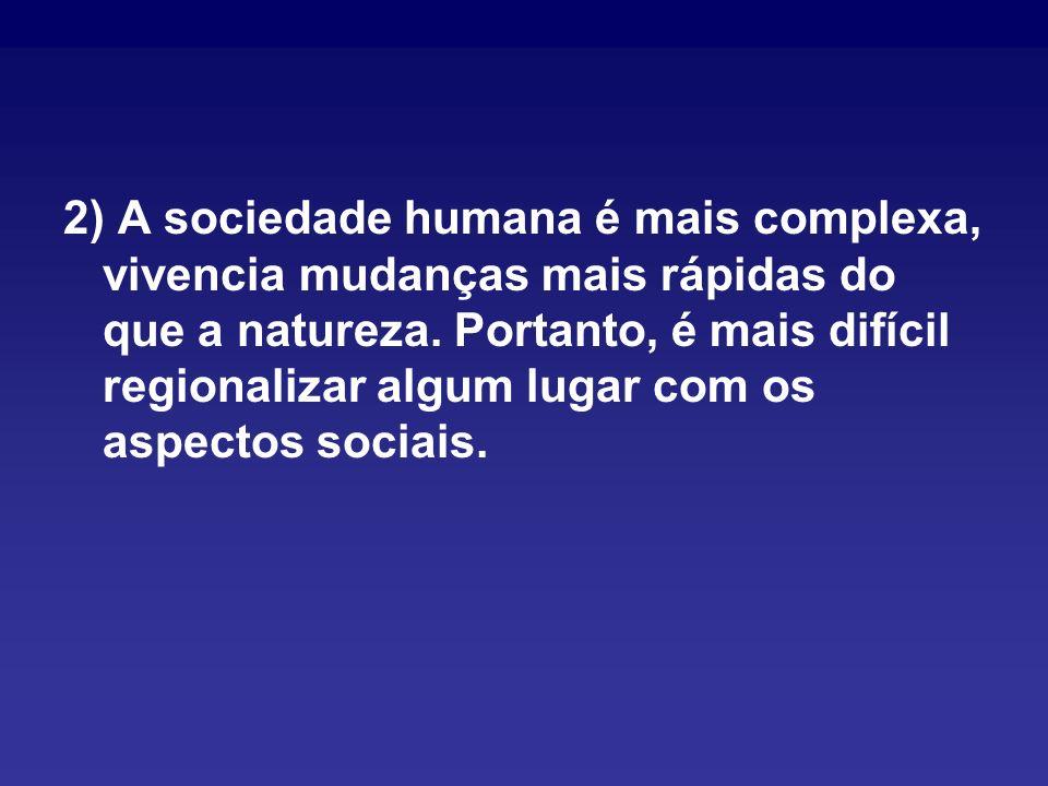 2) A sociedade humana é mais complexa, vivencia mudanças mais rápidas do que a natureza.