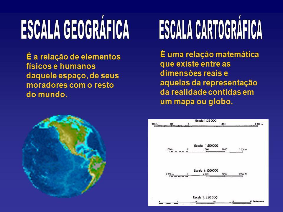 É uma relação matemática que existe entre as dimensões reais e aquelas da representação da realidade contidas em um mapa ou globo.