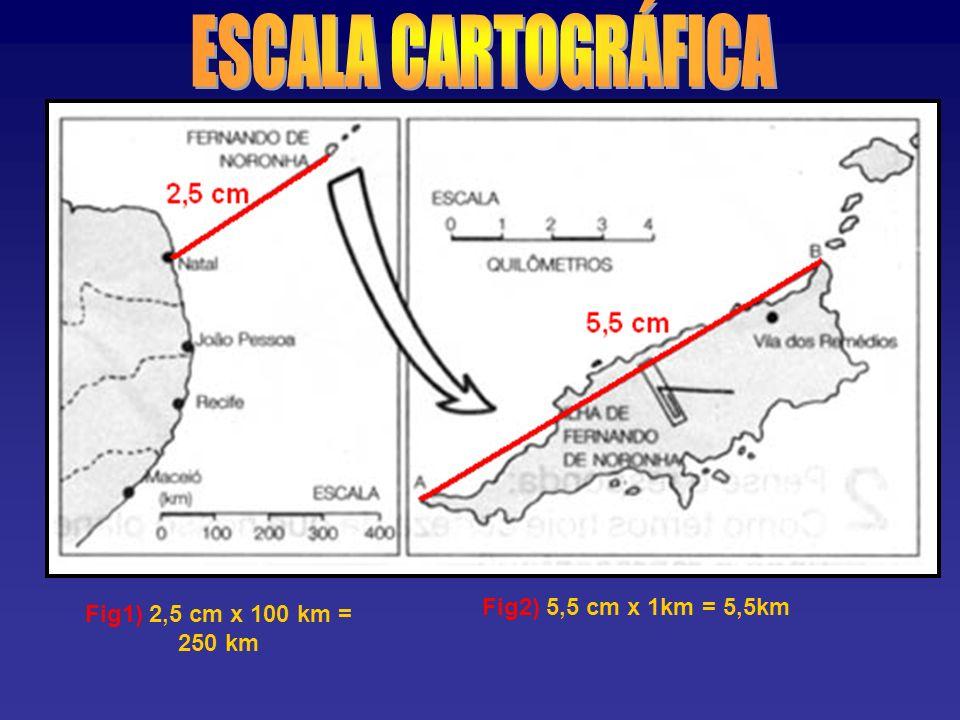 Fig1) 2,5 cm x 100 km = 250 km Fig2) 5,5 cm x 1km = 5,5km