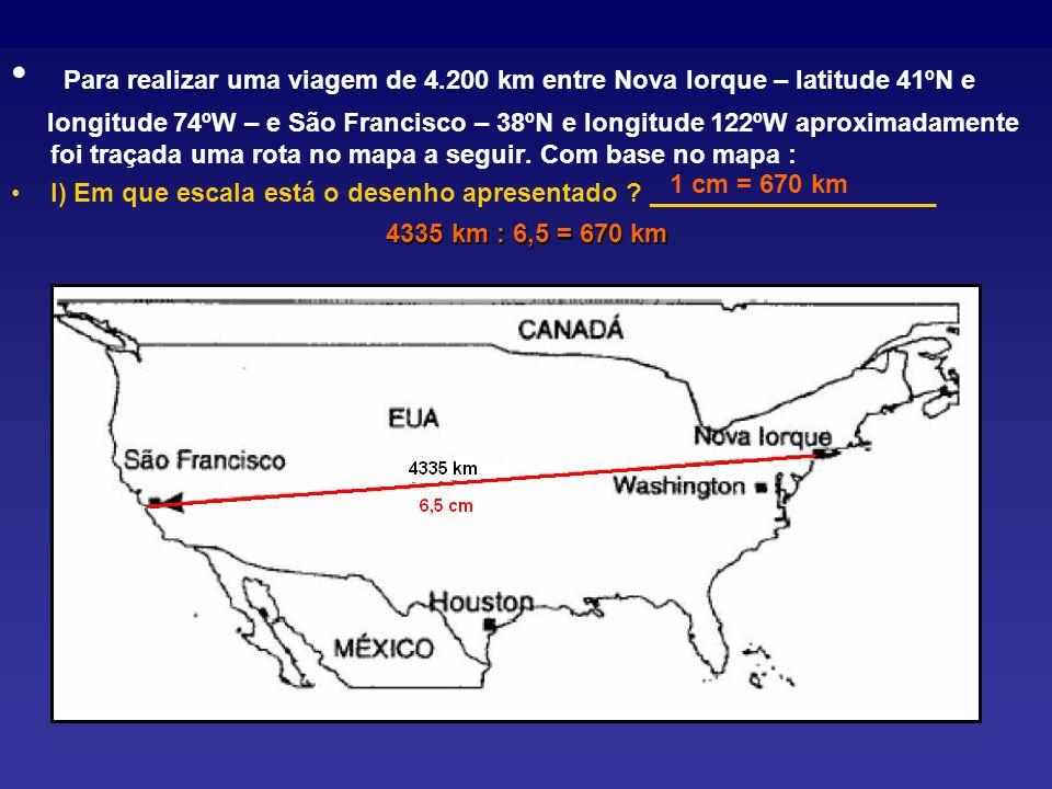 Para realizar uma viagem de 4.200 km entre Nova Iorque – latitude 41ºN e longitude 74ºW – e São Francisco – 38ºN e longitude 122ºW aproximadamente foi traçada uma rota no mapa a seguir.
