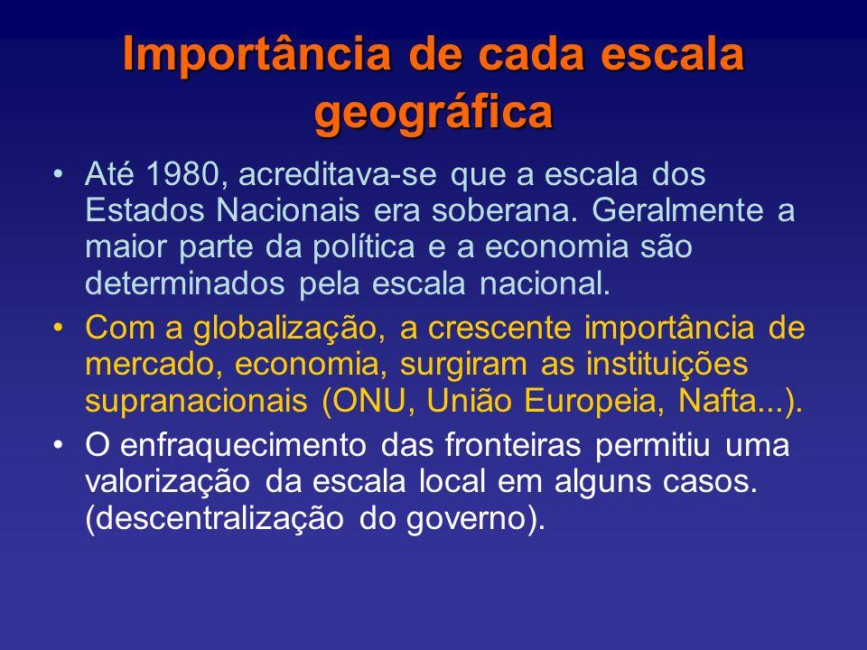 Importância de cada escala geográfica Até 1980, acreditava-se que a escala dos Estados Nacionais era soberana.