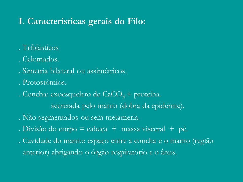 I. Características gerais do Filo:. Triblásticos. Celomados.. Simetria bilateral ou assimétricos.. Protostômios.. Concha: exoesqueleto de CaCO 3 + pro