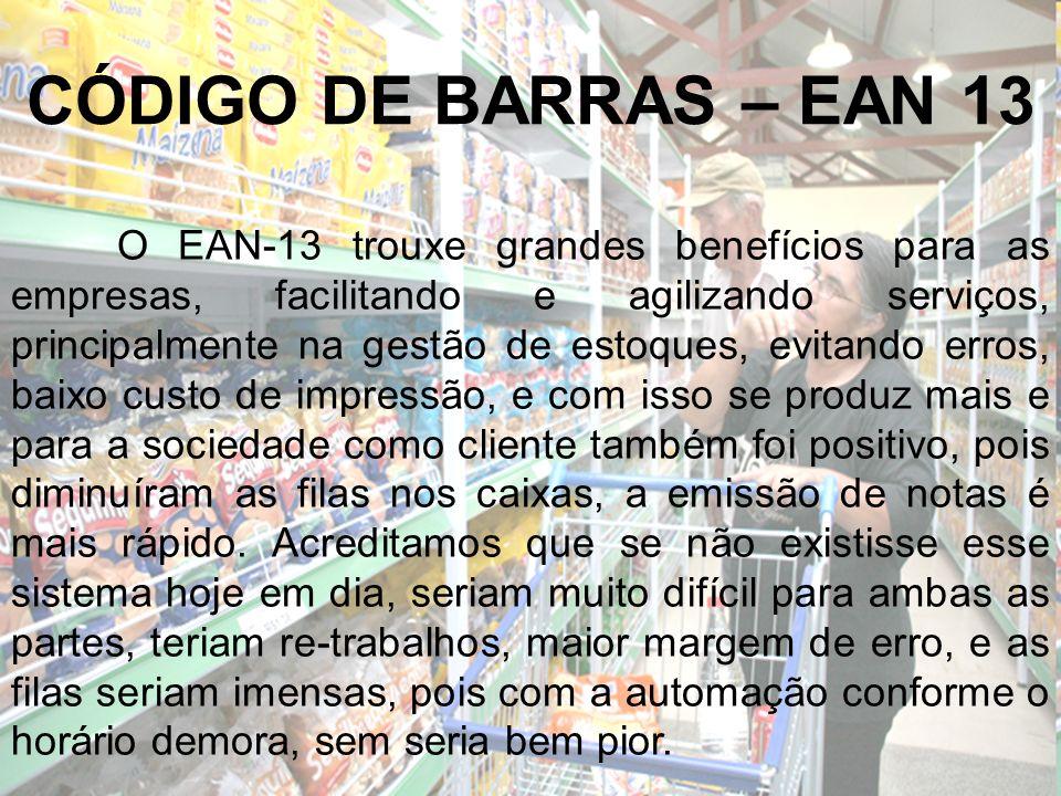 CÓDIGO DE BARRAS – EAN 13 O EAN-13 trouxe grandes benefícios para as empresas, facilitando e agilizando serviços, principalmente na gestão de estoques