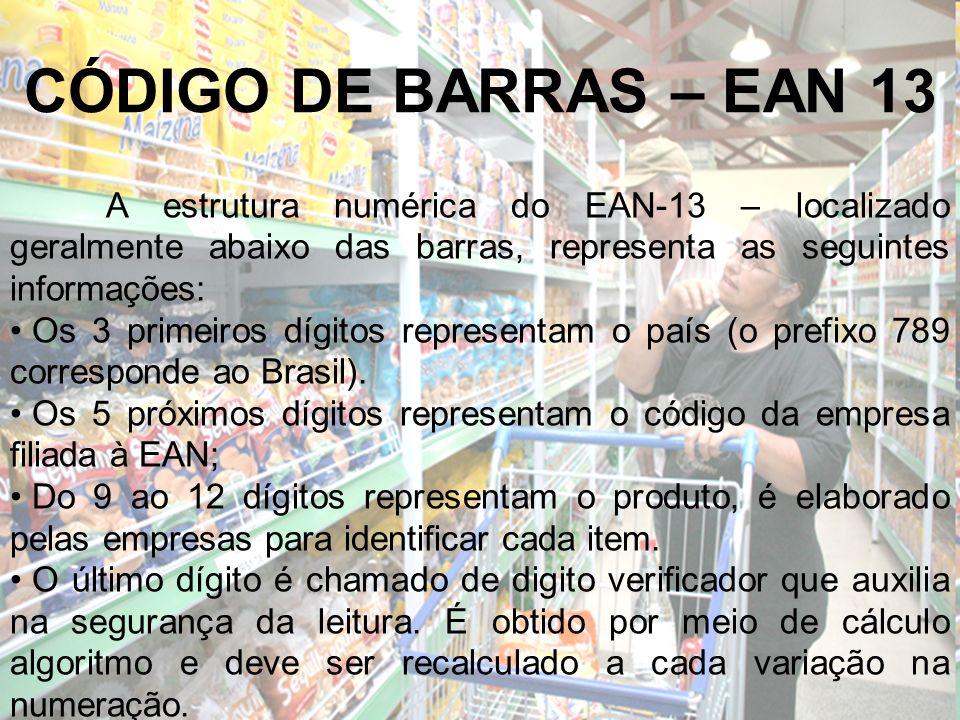 CÓDIGO DE BARRAS – EAN 13 A estrutura numérica do EAN-13 – localizado geralmente abaixo das barras, representa as seguintes informações: Os 3 primeiro