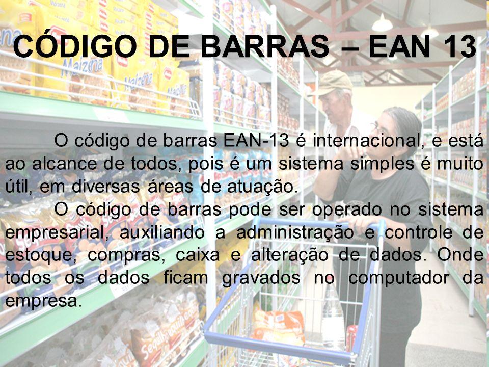 O código de barras EAN-13 é internacional, e está ao alcance de todos, pois é um sistema simples é muito útil, em diversas áreas de atuação. O código