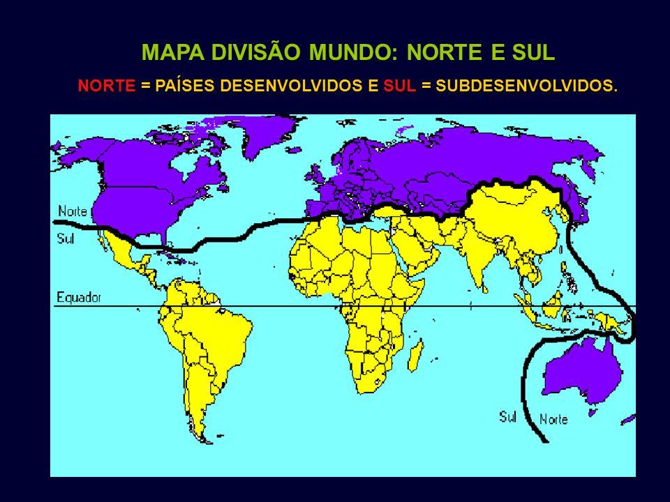 MAPA DIVISÃO MUNDO: NORTE E SUL NORTE = PAÍSES DESENVOLVIDOS E SUL = SUBDESENVOLVIDOS.