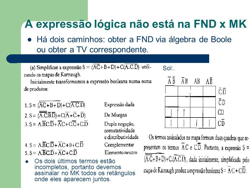 A expressão lógica não está na FND x MK Os dois últimos termos estão incompletos, portanto devemos assinalar no MK todos os retângulos onde eles apare