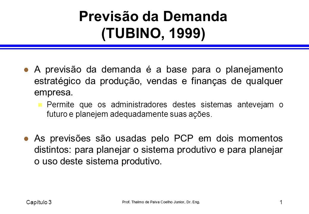 Capítulo 3 Prof. Thalmo de Paiva Coelho Junior, Dr. Eng. 1 Previsão da Demanda (TUBINO, 1999) l A previsão da demanda é a base para o planejamento est