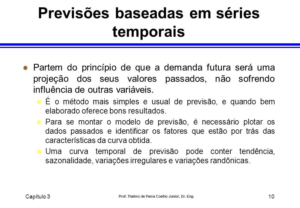 Capítulo 3 Prof. Thalmo de Paiva Coelho Junior, Dr. Eng. 10 Previsões baseadas em séries temporais l Partem do princípio de que a demanda futura será