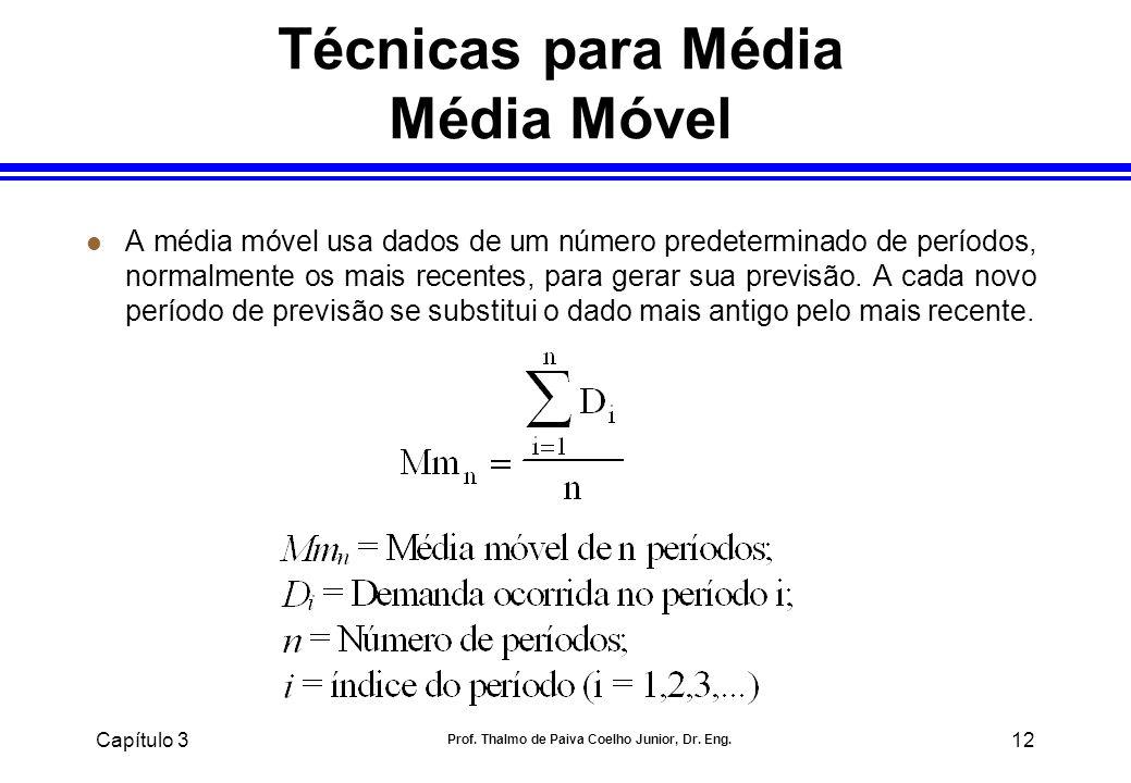 Capítulo 3 Prof. Thalmo de Paiva Coelho Junior, Dr. Eng. 12 Técnicas para Média Média Móvel l A média móvel usa dados de um número predeterminado de p