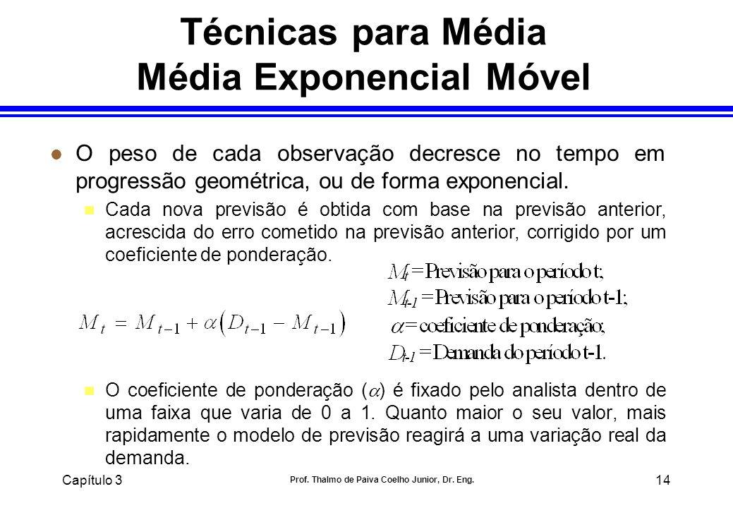 Capítulo 3 Prof. Thalmo de Paiva Coelho Junior, Dr. Eng. 14 l O peso de cada observação decresce no tempo em progressão geométrica, ou de forma expone