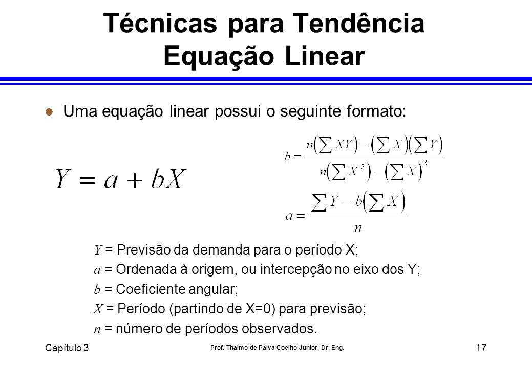 Capítulo 3 Prof. Thalmo de Paiva Coelho Junior, Dr. Eng. 17 l Uma equação linear possui o seguinte formato: Y = Previsão da demanda para o período X;