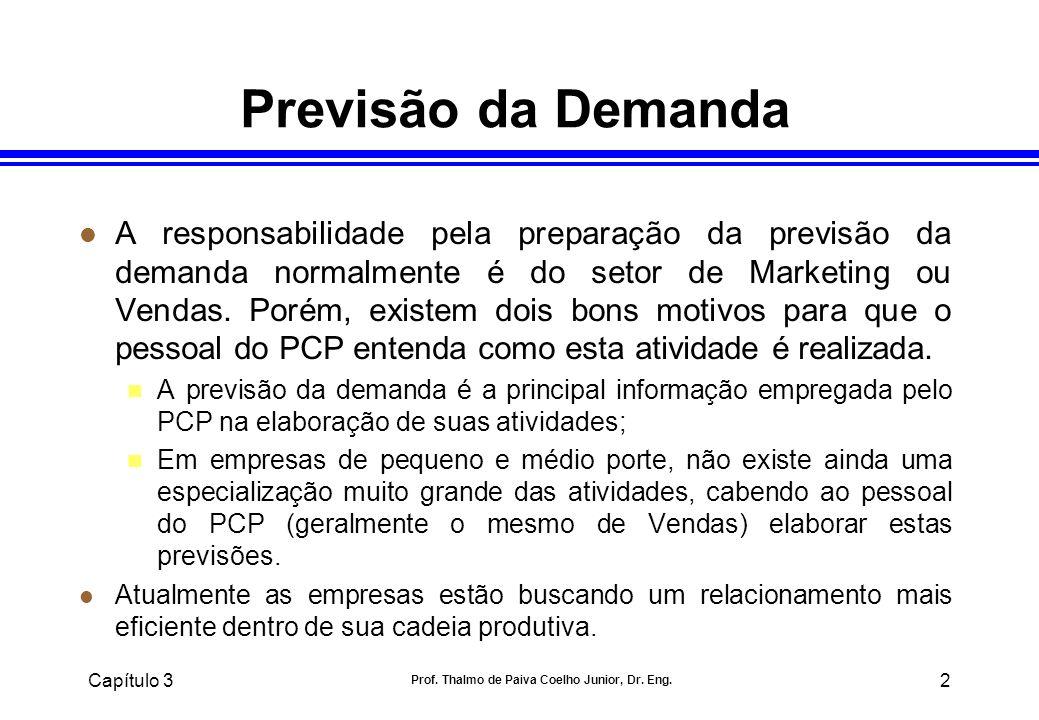 Capítulo 3 Prof. Thalmo de Paiva Coelho Junior, Dr. Eng. 2 Previsão da Demanda l A responsabilidade pela preparação da previsão da demanda normalmente