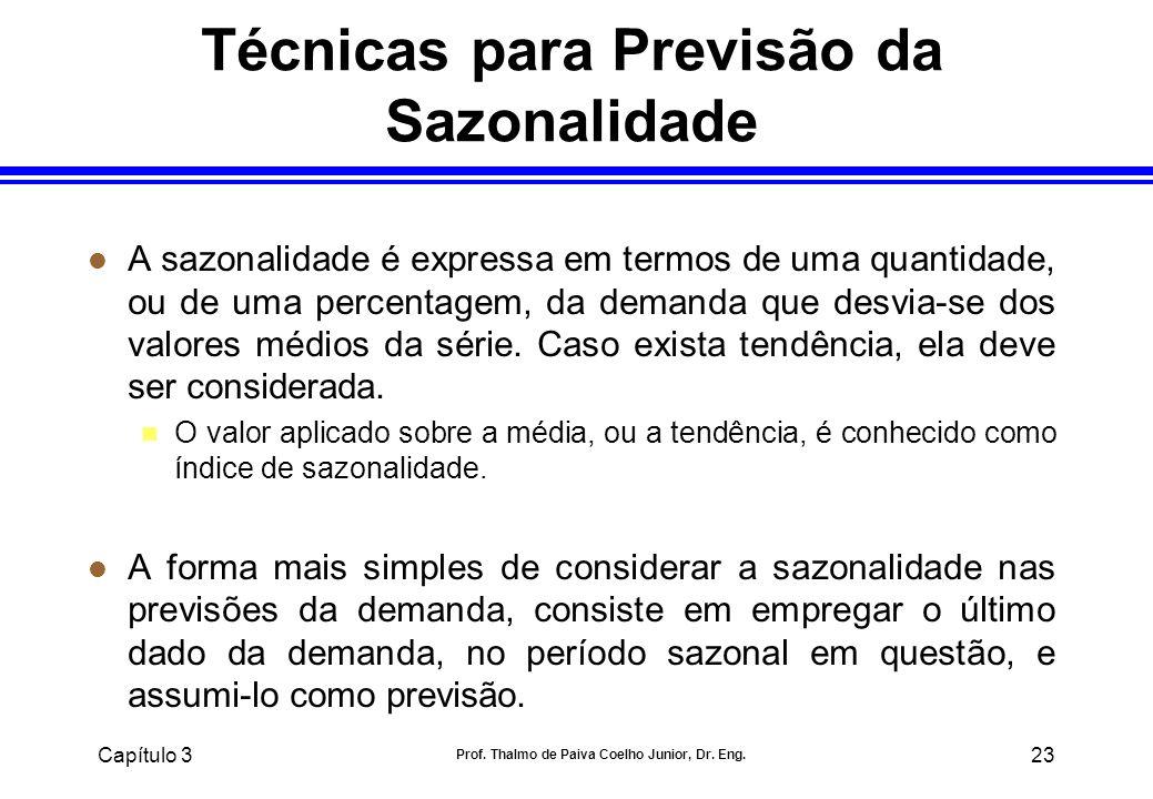 Capítulo 3 Prof. Thalmo de Paiva Coelho Junior, Dr. Eng. 23 Técnicas para Previsão da Sazonalidade l A sazonalidade é expressa em termos de uma quanti