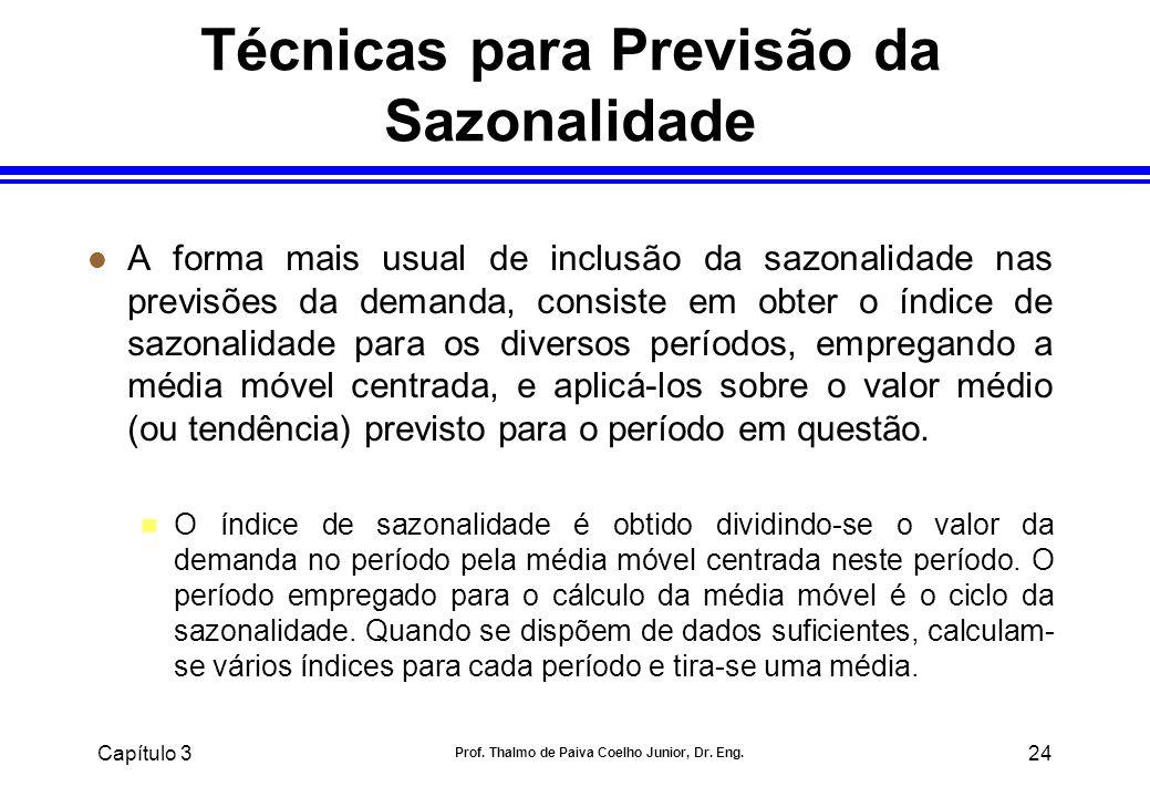 Capítulo 3 Prof. Thalmo de Paiva Coelho Junior, Dr. Eng. 24 Técnicas para Previsão da Sazonalidade l A forma mais usual de inclusão da sazonalidade na
