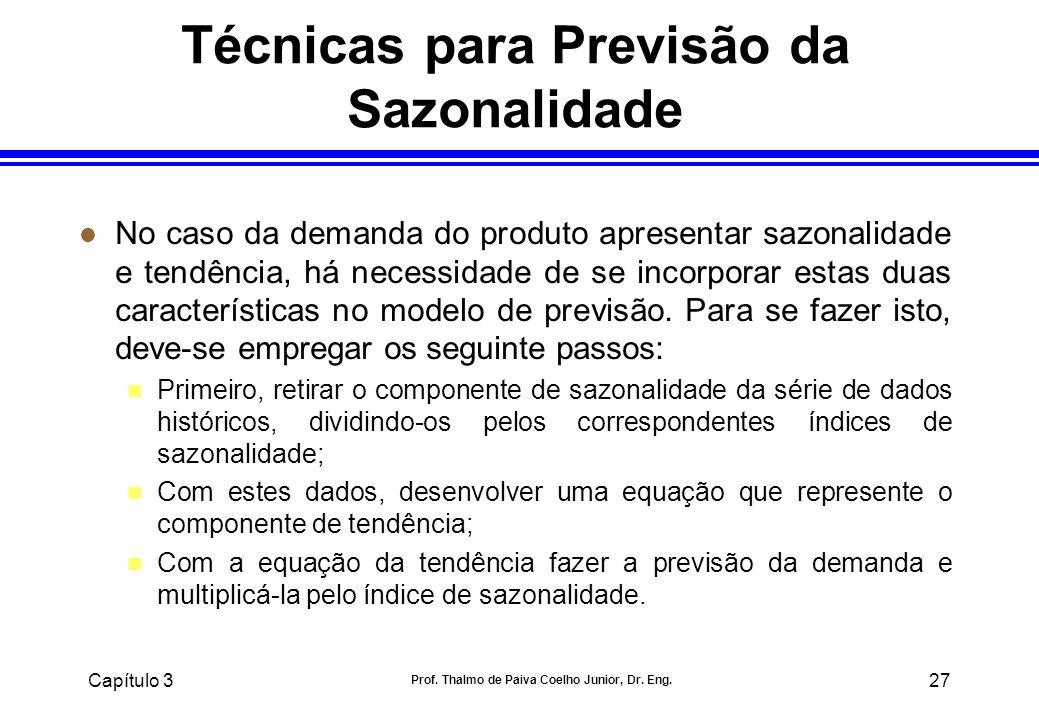 Capítulo 3 Prof. Thalmo de Paiva Coelho Junior, Dr. Eng. 27 Técnicas para Previsão da Sazonalidade l No caso da demanda do produto apresentar sazonali
