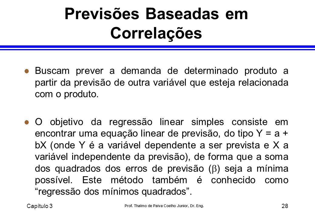 Capítulo 3 Prof. Thalmo de Paiva Coelho Junior, Dr. Eng. 28 Previsões Baseadas em Correlações l Buscam prever a demanda de determinado produto a parti