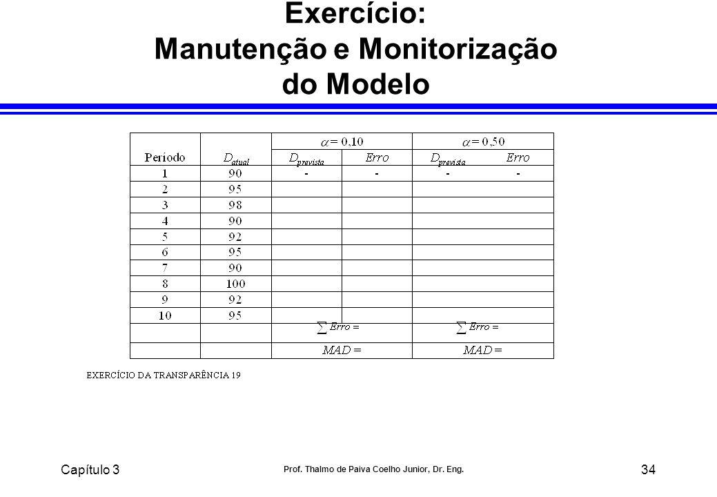 Capítulo 3 Prof. Thalmo de Paiva Coelho Junior, Dr. Eng. 34 Exercício: Manutenção e Monitorização do Modelo