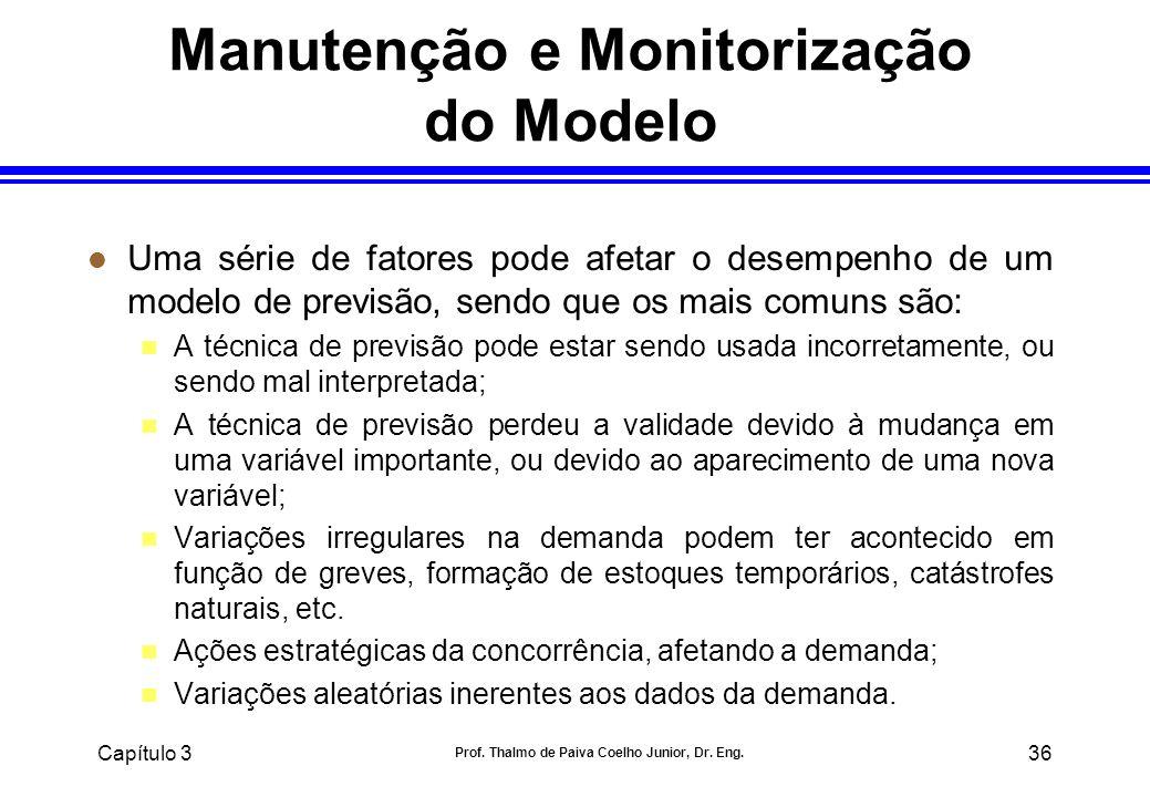 Capítulo 3 Prof. Thalmo de Paiva Coelho Junior, Dr. Eng. 36 Manutenção e Monitorização do Modelo l Uma série de fatores pode afetar o desempenho de um