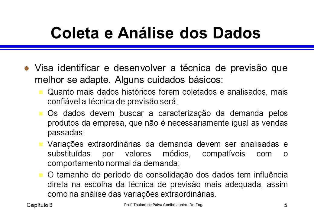 Capítulo 3 Prof. Thalmo de Paiva Coelho Junior, Dr. Eng. 5 Coleta e Análise dos Dados l Visa identificar e desenvolver a técnica de previsão que melho