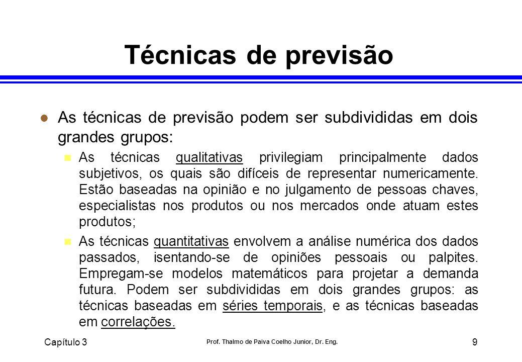 Capítulo 3 Prof. Thalmo de Paiva Coelho Junior, Dr. Eng. 9 Técnicas de previsão l As técnicas de previsão podem ser subdivididas em dois grandes grupo