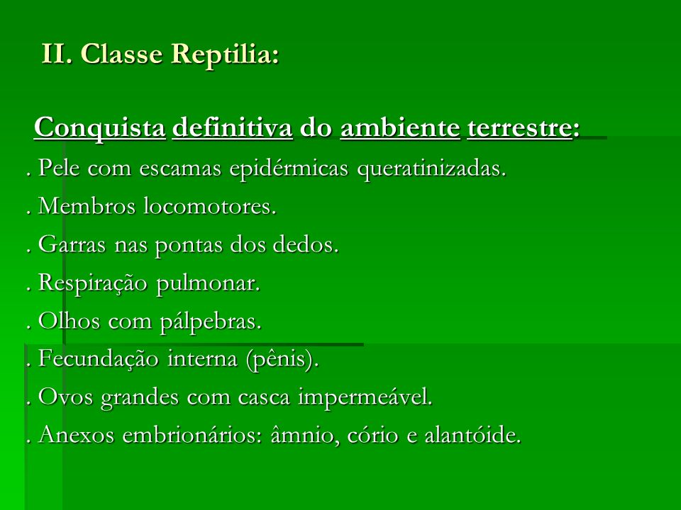 II. Classe Reptilia: Conquista definitiva do ambiente terrestre: Conquista definitiva do ambiente terrestre:. Pele com escamas epidérmicas queratiniza