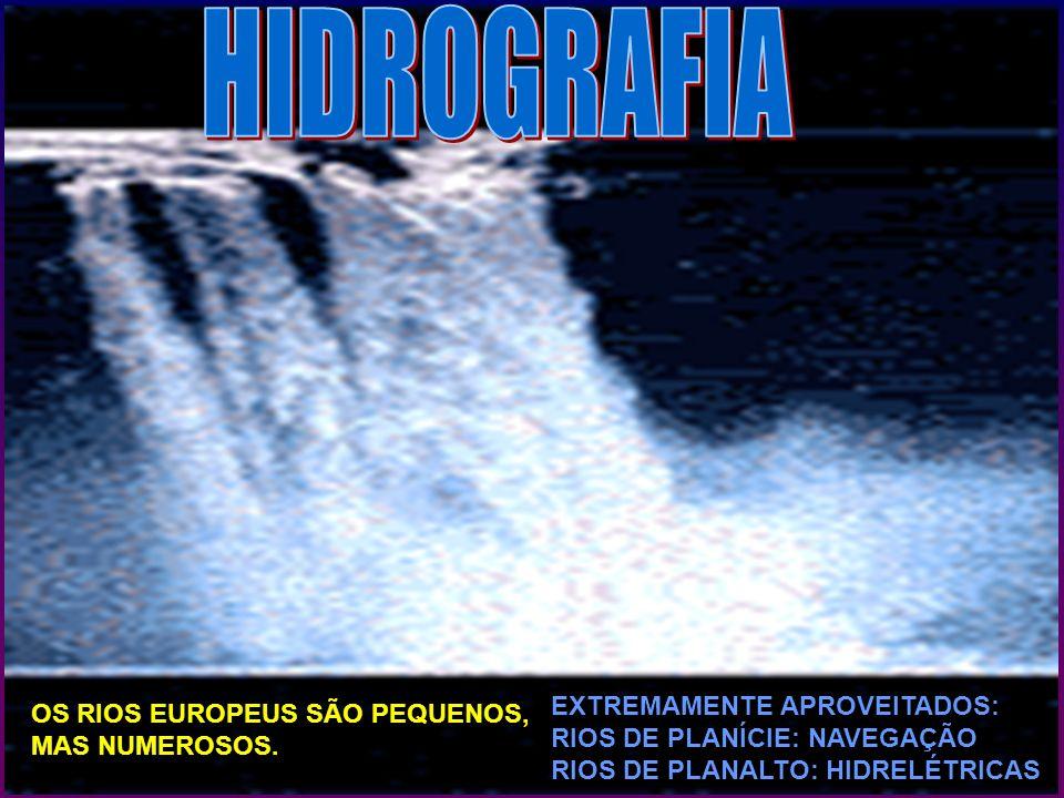 OS RIOS EUROPEUS SÃO PEQUENOS, MAS NUMEROSOS. EXTREMAMENTE APROVEITADOS: RIOS DE PLANÍCIE: NAVEGAÇÃO RIOS DE PLANALTO: HIDRELÉTRICAS.