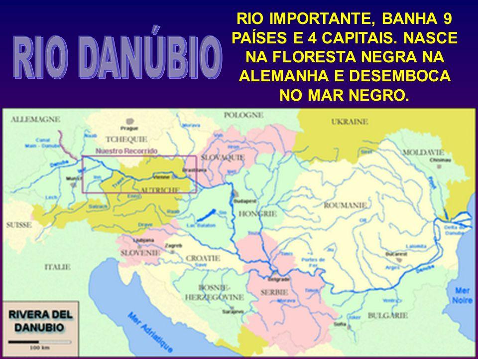 RIO IMPORTANTE, BANHA 9 PAÍSES E 4 CAPITAIS. NASCE NA FLORESTA NEGRA NA ALEMANHA E DESEMBOCA NO MAR NEGRO.